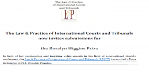 Apply For The Rosalyn Higgins Prize – Int'l Court of Justice Paper.
